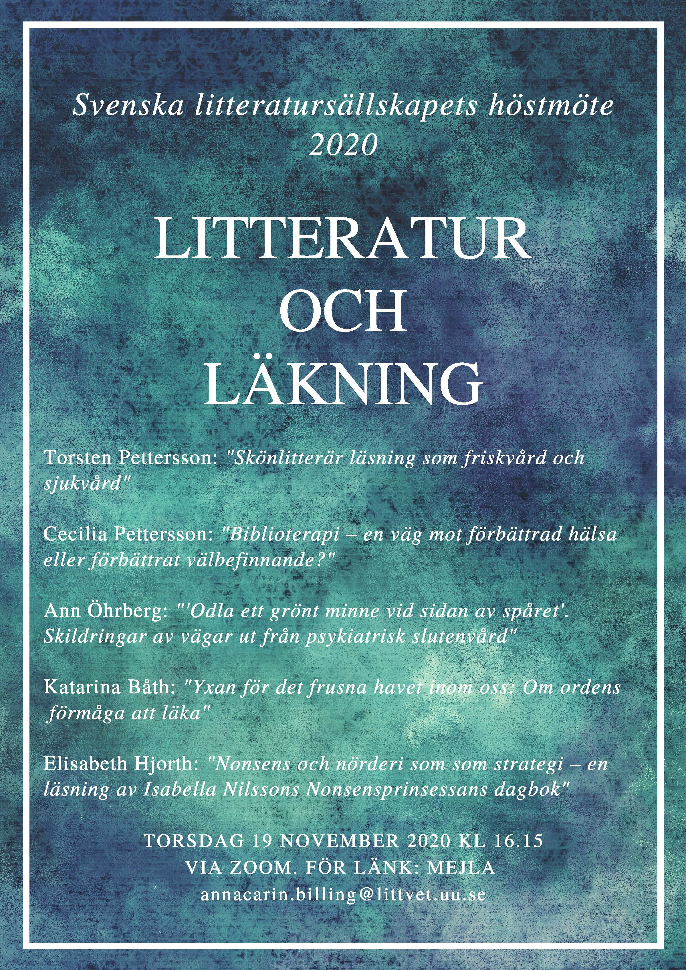 The Swedish Literary Society's Autumn Meeting 2020
